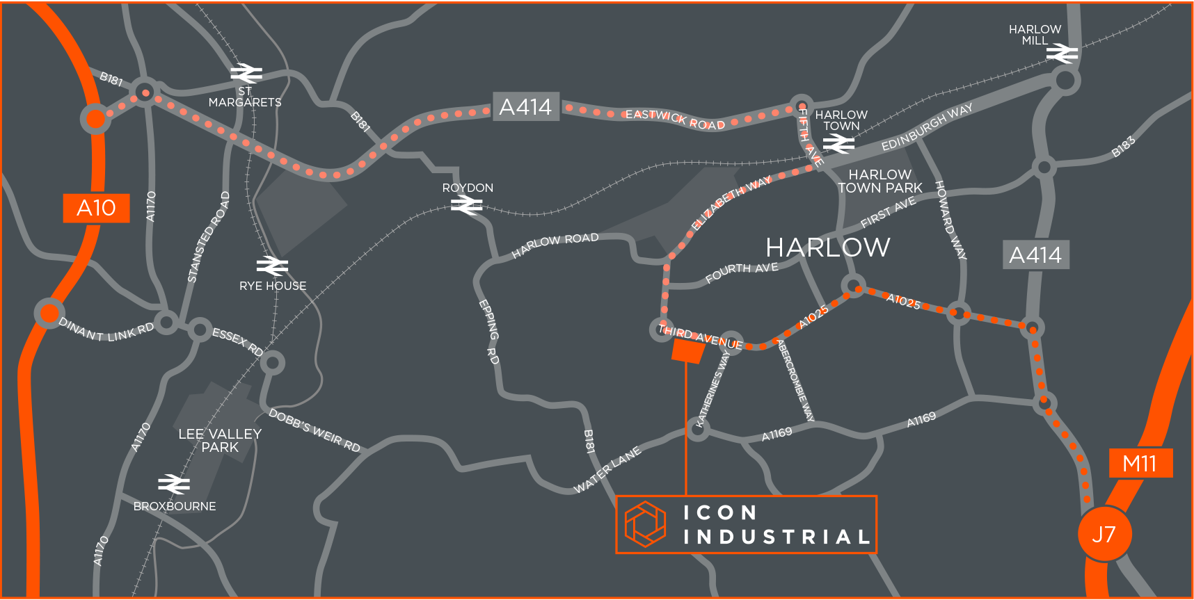 Icon industrial Harlow Sat Nav CM19 5AW
